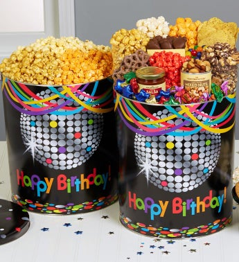 Birthday Glitz 6 1/2 Gallon Popcorn & Deluxe Snack Assortment - 6-1/2 Gallon 3-Flavor