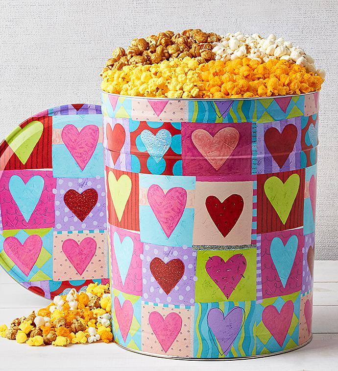 Heart Deco Popcorn Tins - 3-1/2 Gallon 4-Flavor