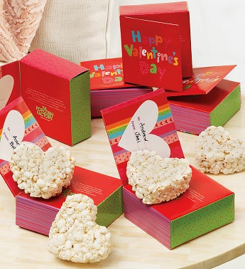 Set of 6 Happy Valentine's Day Popcorn Heart Cards