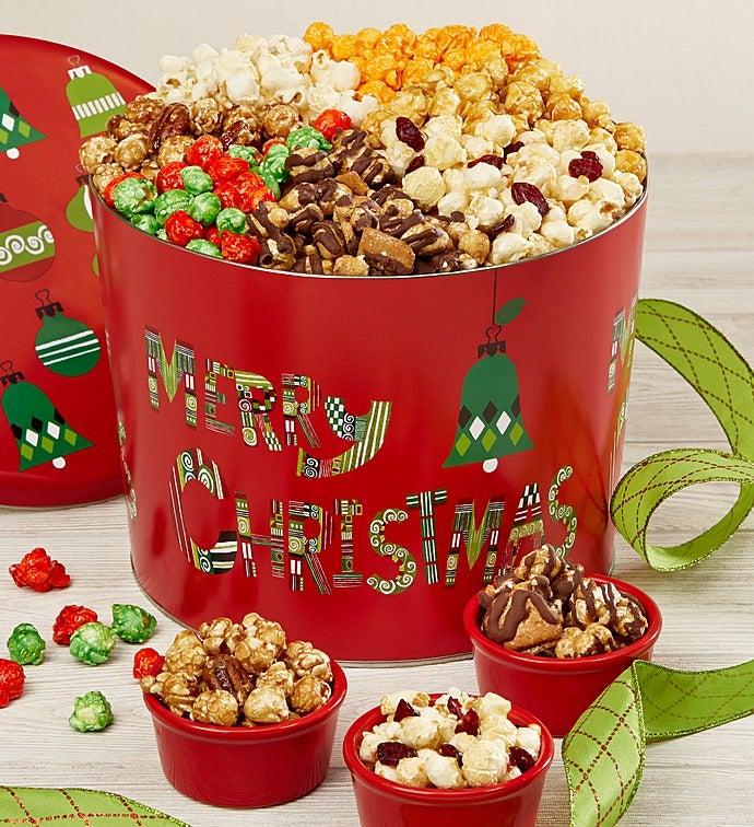 merry christmas 7 way popcorn tin