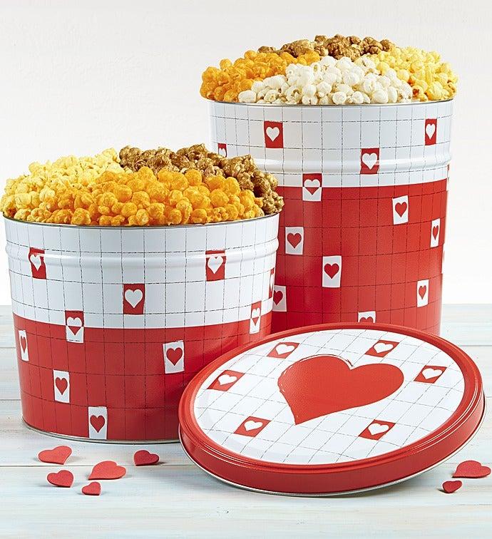 Be My Valentine Popcorn Tins - 2 Gallon 3-Flavor (32 Cups)