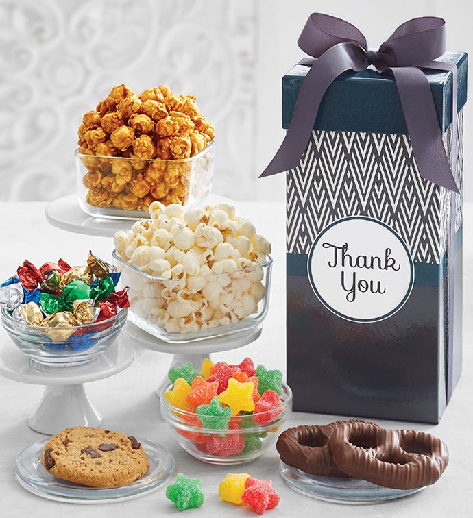 Simply Stated Thank You Tall Snack Box & Corporate Thank You Gifts | Employee Thank You Gifts | The Popcorn ...