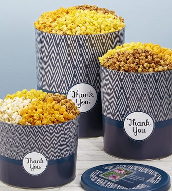 Simply Stated™ Thank You Popcorn Tins - 2 Gallon 3 Flavor
