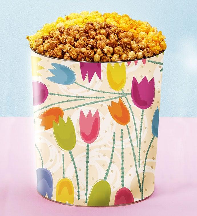 3 1/2 Gallon Tulips 3-Flavor Popcorn Tin