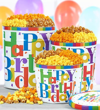 Big Happy Birthday Popcorn Tins - 3-1/2 Gallon 3-Flavor (Ships July 20)