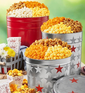 Simply Red & Patriotic Popcorn Tins - 6-1/2 Gallon Red 3-Flavor