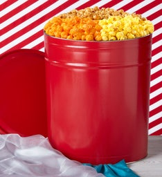 Simply Red 6-1/2 Gallon 3-Flavor Popcorn Tin