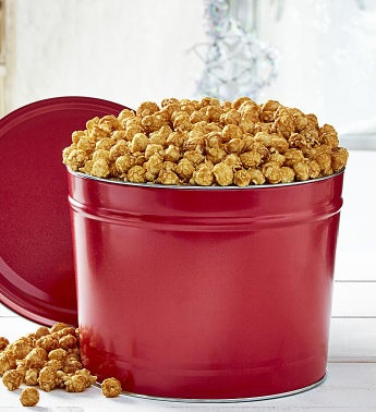 Simply Red 2 Gallon Pick-A-Flavor Popcorn Tins - Butter & Sugar Free Caramel by The Popcorn Factory