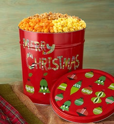 Merry Christmas 3-1/2 Gallon 3-Flavor Popcorn Tin