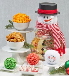 Snowman Container with Plush Snowballs