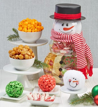 Snowman Container With Plush Snowballs - Snowman Canister