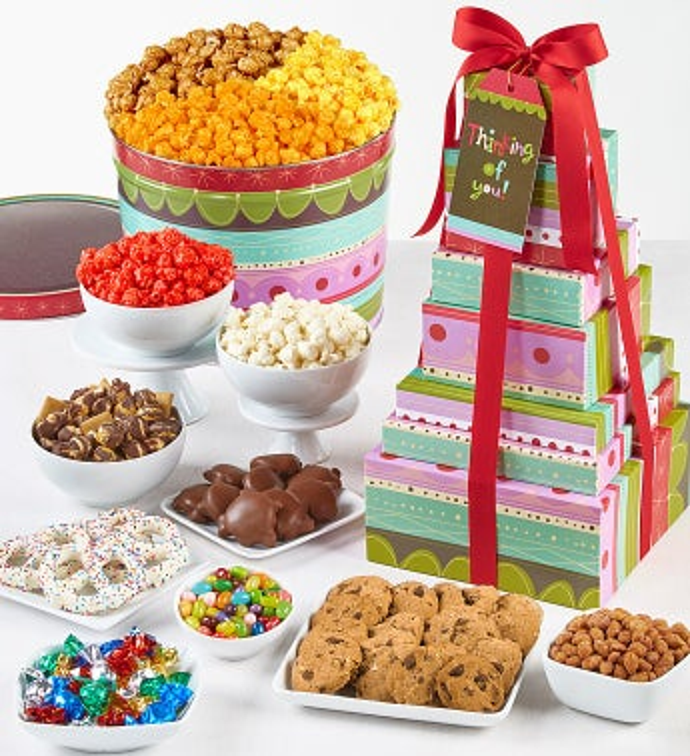 Stripes Snacks Tin & Tower - 8-Tier Tin & Tower Happy Birthday