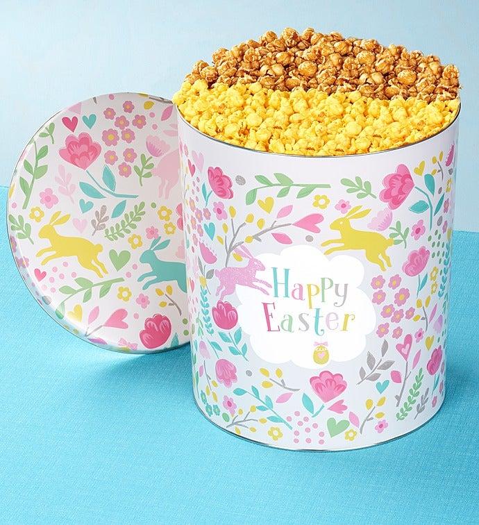 6-1/2 Gallon Happy Easter Pick A Flavor Popcorn Tins - 6-1/2 Gallon Caramel & White Cheddar Popcorn