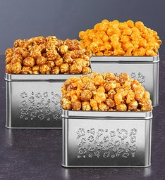 Embossed Silver Square Popcorn Tins