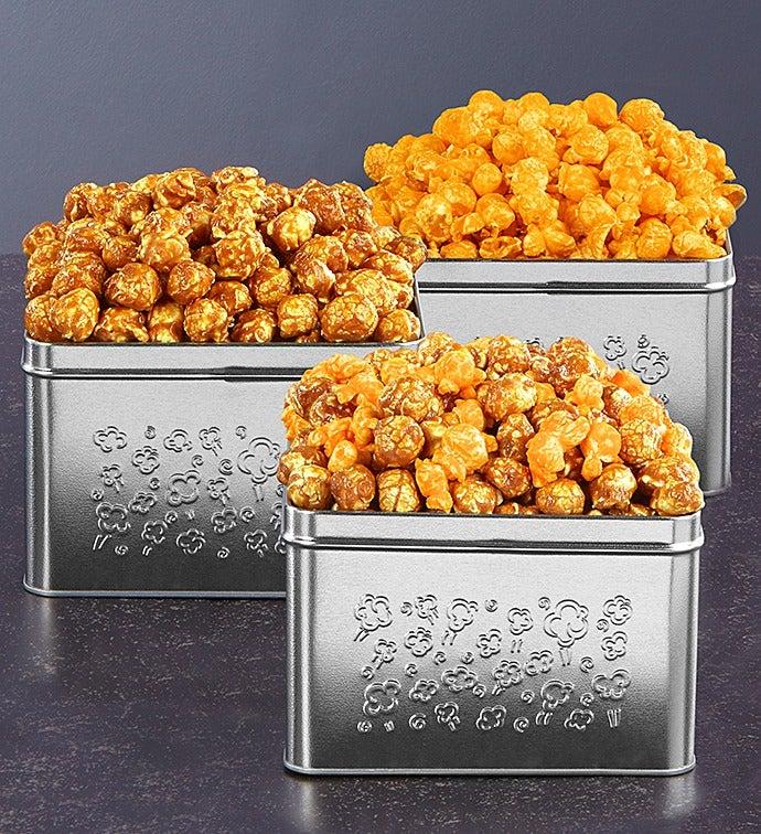Embossed Silver Square Popcorn Tins - Toffee Caramel & Sea Salt