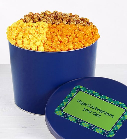 Solid Blue 2 Gallon 3 Flavor Popcorn Tin