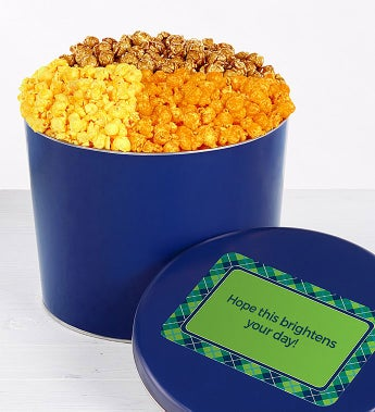 Solid Blue Popcorn Tin - 2 Gallon 4-Flavor (32 Cups)
