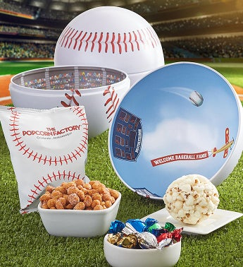 Baseball Shaped Tin by The Popcorn Factory