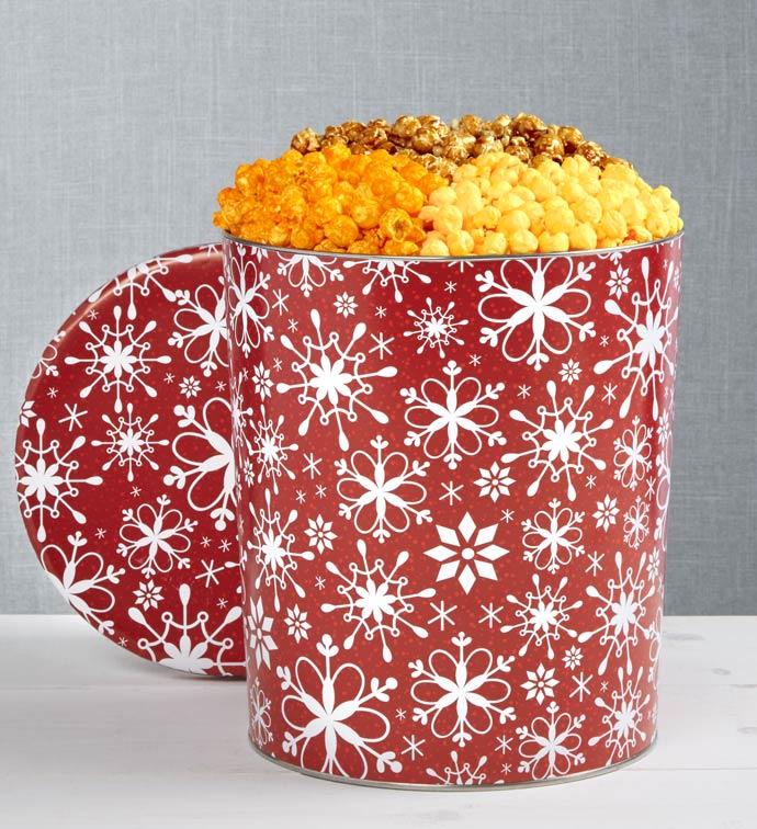 Snowflake Popcorn Tins - 2-Gallon 4-Flavor Tin (32 Cups)
