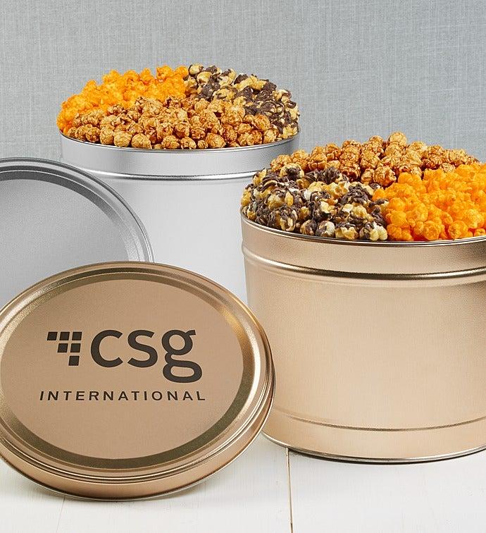 Simply Gold & Silver Deluxe Popcorn Tins - Silver 2-Gallon 3-Flavor