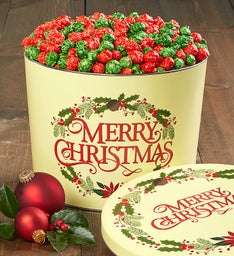 Merry Christmas Holiday Kettle Popcorn Tin