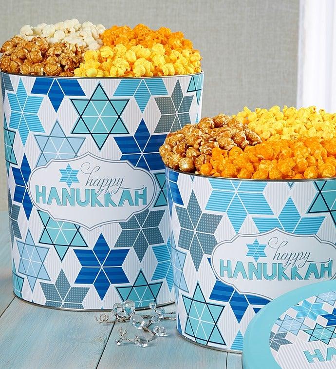 Happy Hanukkah Popcorn Tins - 2-Gallon 4-Flavor (32 Cups)
