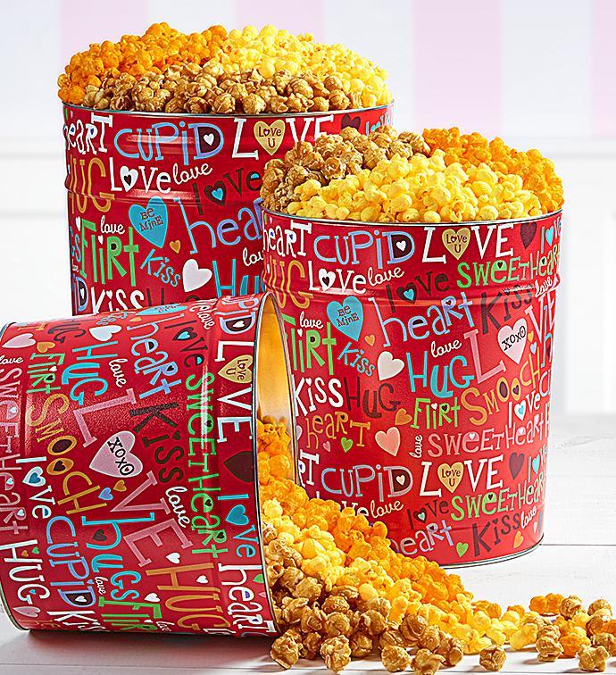Love Out Loud Popcorn Tins - 6-1/2 Gallon 3-Flavor