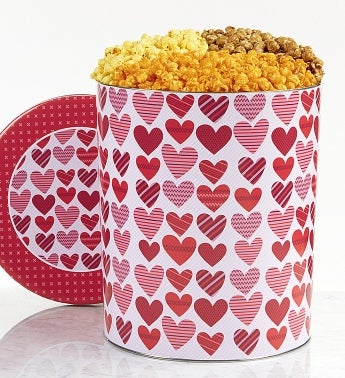 From The Heart Popcorn Tin - 6-1/2 Gallon 3-Flavor