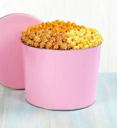 2 Gallon Pop of Pink Pick a Flavor Popcorn Tins