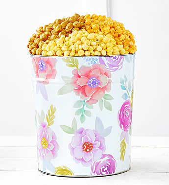 Fancy Floral 3 1/2 Gallon Popcorn Tin 3 Flavor