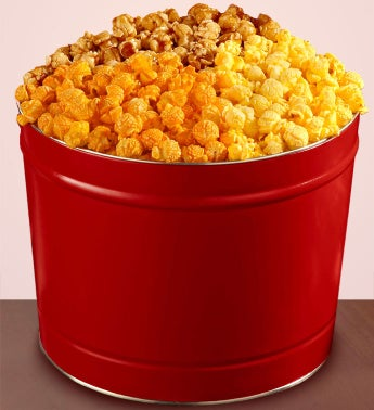 Red 2-Gallon Popcorn Tins Special Offer - 2 Gallon 3-Flavor