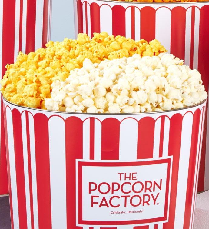 2 Gallon Tpf Retro Pick A Flavor Popcorn Tins - 2 Gallon Butter & White Cheddar Popcorn