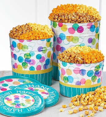 Say It With Dots Happy Birthday Popcorn Tins - 2 Gallon 3-Flavor
