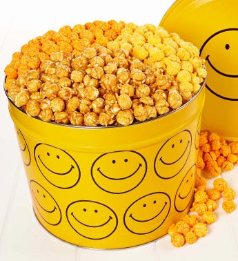 2 Gallon Smiley Face 3 Flavor Popcorn Tin - 2 Gallon 3 Flavor Popcorn Tin