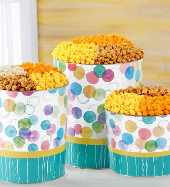 Say It With Dots Popcorn Tins - 2 Gallon 4-Flavor