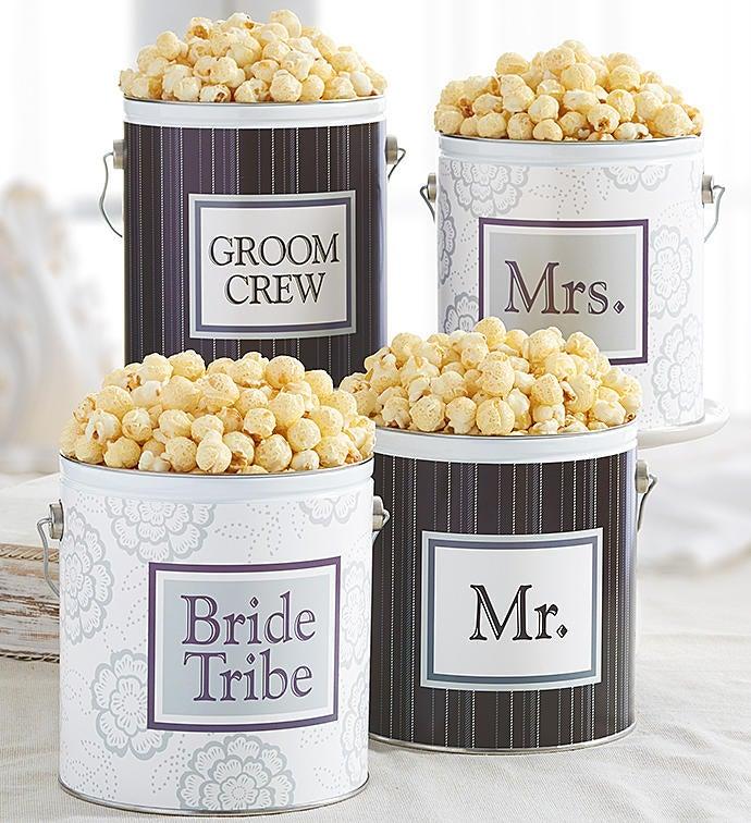 1 Gallon Wedding Favor Tins - 1G White Mrs Tag