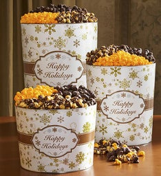 Gold Snowflake Deluxe Popcorn Tins
