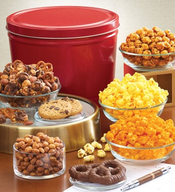 Simply Red Tin Grand Snack Assortment by The Popcorn Factory