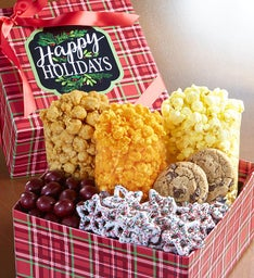Happy Holidays Plaid Grand Snack Gift Box