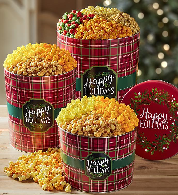 merry christmas and happy holidays plaid popcorn tins