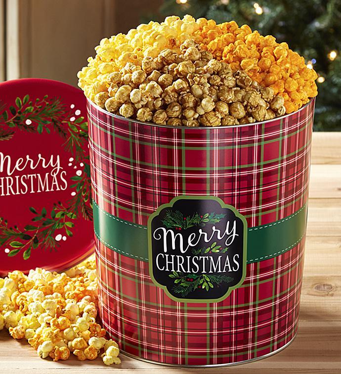 merry christmas plaid 3 12 gallon pick a flavor popcorn tins