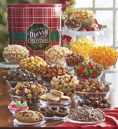 Merry Christmas Plaid Tin Ultimate Snack Assortment