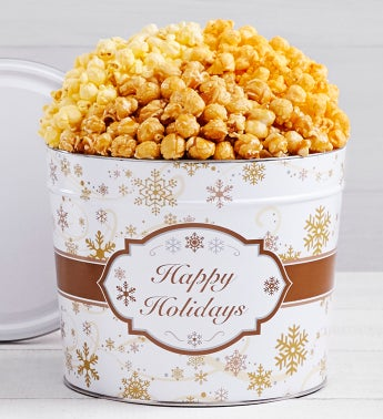 Gold Snowflake Popcorn Tins - 2 Gallon 3 Flavor Tin