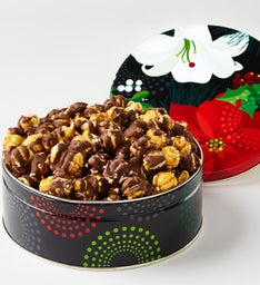 Winter Floral Drizzled Caramel Corn Gift Tin