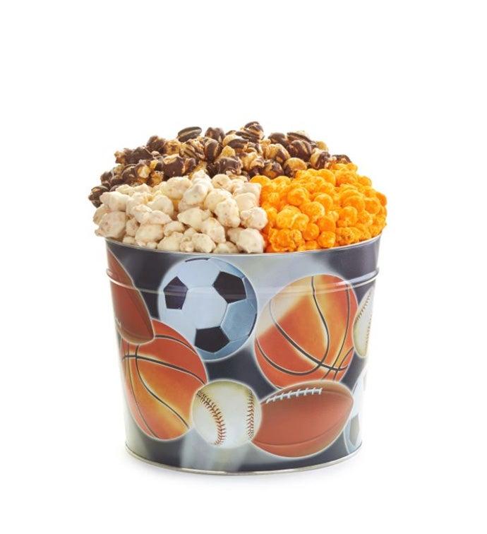 Sport Balls 3- Flavor 1.75 Gallon Popcorn Tin