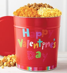Happy Valentine's Day 3 1/2 Gallon Popcorn Tin