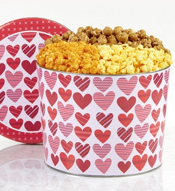 From The Heart 2 Gallon Popcorn Tin - 3- Flavor