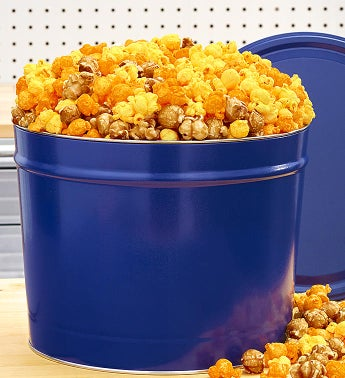 Solid Blue 2 Gallon Cornfusion Popcorn Tin