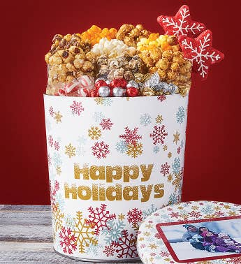 3 12 Gallon Sparkling Snowflake Happy Holidays Premium Snack Assortment
