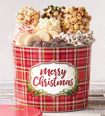 2 Gallon Holly Plaid Merry Christmas Grand Snack Assortment